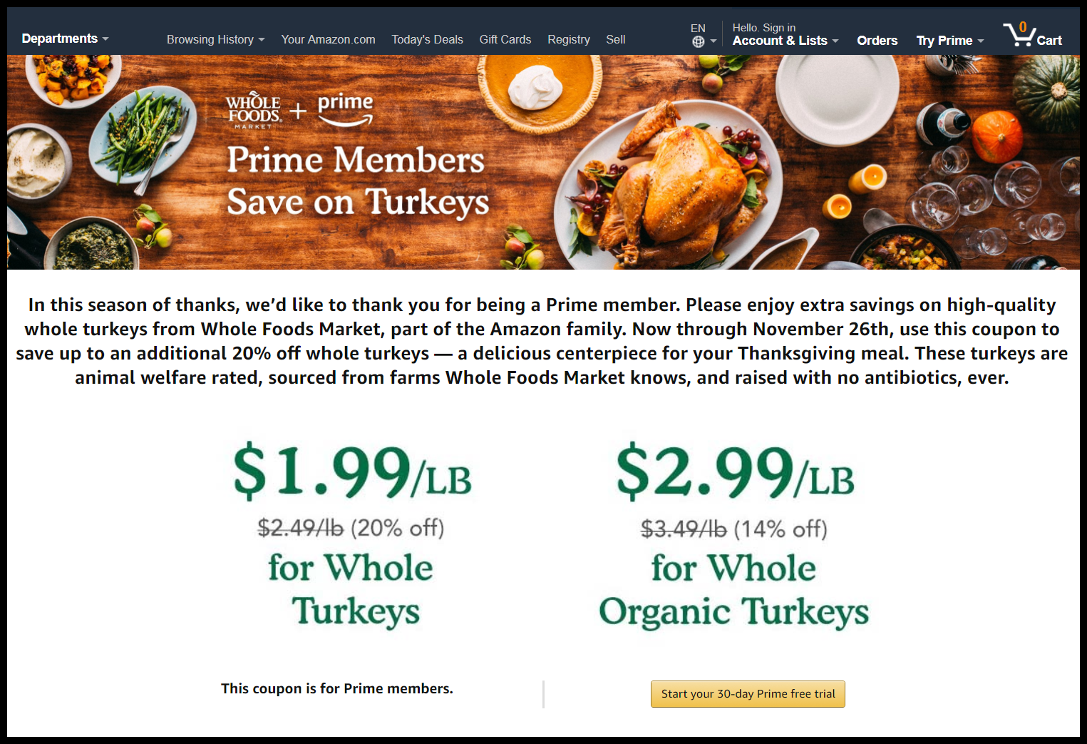 Amazon turkey coupon