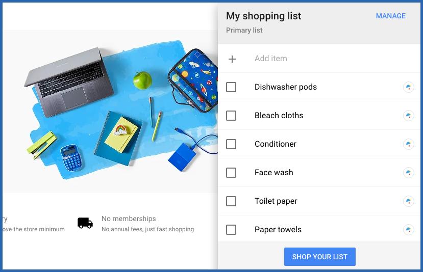 Google Express Shopping List