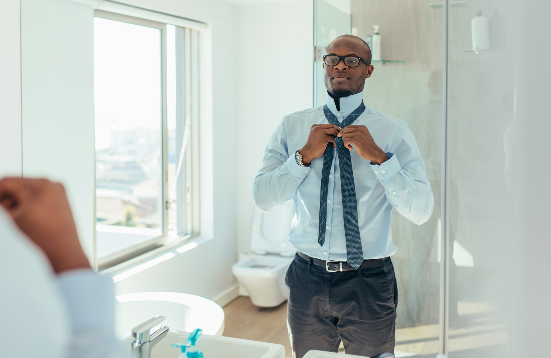 Man Getting Dressed for Work