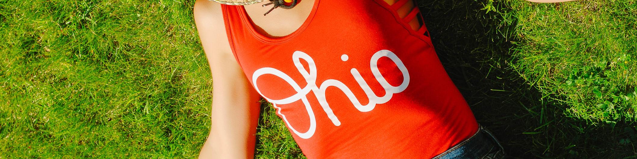 woman wearing Ohio shirt