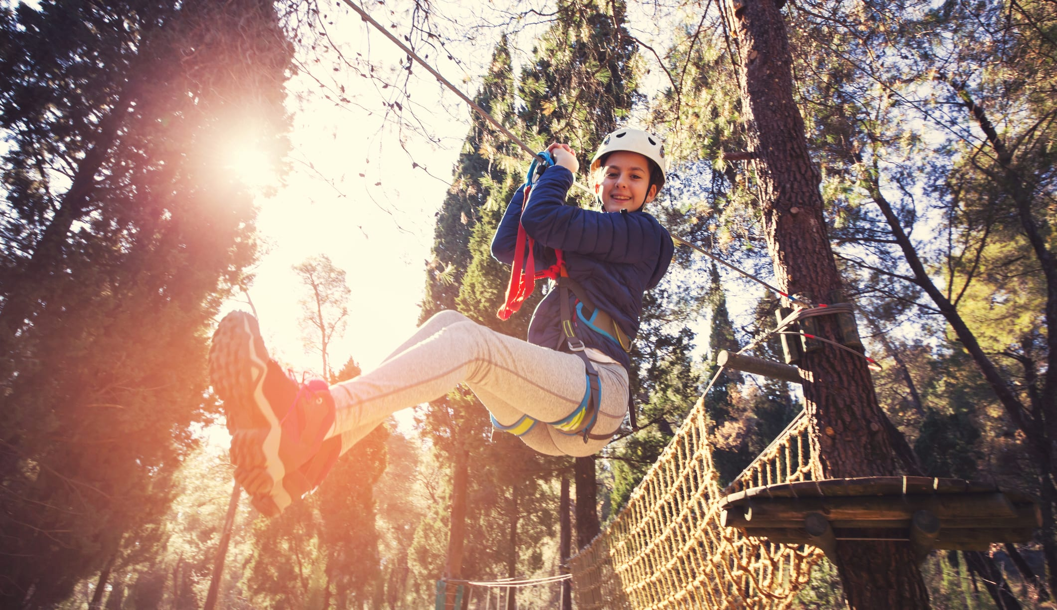 kid on zipline