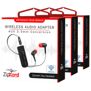 ZipKord 3.5mm Bluetooth Adapter 3-Pack for $9 + $5 s&h