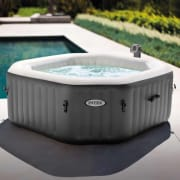 Walmart offers the Intex 120 Bubble Jets 4-Person Octagonal Portable Inflatable Hot Tub for $358 with free shipping. That's the lowest price we could find by $91