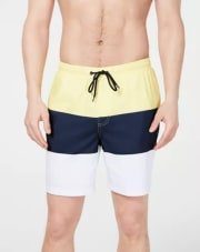 "Club Room Men's Colorblocked 7"" Swim Trunks for $16 + pickup at Macy's"