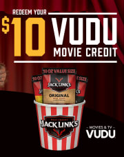 At your local Walmart store, buy any Jack Link's 10-lb. Jerky Pack and get $10 Vudu Movie Credit for free via the steps below