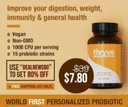 "Experiencing poor gut health, weight, digestion, and immunity? Thryve takes 80% off of all its probiotic supplements via code ""DEALNEWS80"". Plus, free shipping applies"
