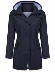 "Kikibell via Amazon offers the Kikibell Women's Lightweight Rain Jacket in several colors (Dark Navy Blue pictured) priced from $25.99. Coupon code ""LHUKHIAA"" drops the starting price to $12.99"