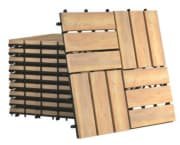 """Costway 12"""" Acacia Wood Interlocking Check Deck Tiles 10-Pack for $49 + free shipping"""