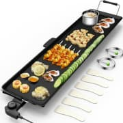 """Costway Electric Teppanyaki Table Top Grill Griddle. Apply coupon code """"DN35704629"""" for a savings of $25."""
