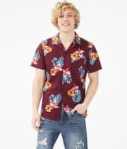 Aeropostale Men's Tropical Flower Button-Down Shirt for $10 + $5 s&h