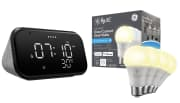 Lenovo Smart Clock Essential + C by GE Direct Connect Smart LED Light Bulbs 4-Pack. That's $40 less than buying these items separately elsewhere.