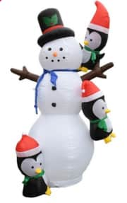 Aleko 7-Foot Giant Inflatable LED Snowman w/ Hanging Penguin Friends. It's $99 off the list price and the best deal we could find.