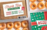 Krispy Kreme. It's a busy time for delivery drivers but your efforts haven't gone unnoticed. Pop into your local Krispy Kreme today (11/30) for a free original glazed dozen donuts!