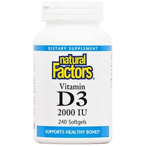 Natural Factors - Vitamin D3 2000 IU, Supports Healthy Bones, 240 Soft Gels for $23