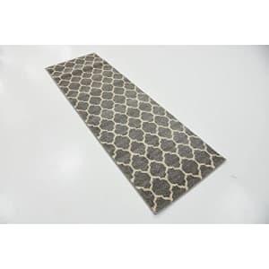 Unique Loom Trellis Collection Moroccan Lattice Dark Gray Runner Rug (2' 0 x 6' 0) for $27