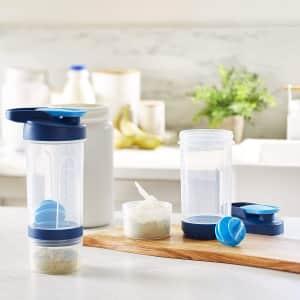 AmazonBasics 20-oz. Shaker Bottle w/ Dry Storage Compartment 2-Pack for $14