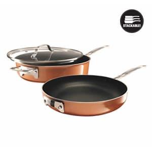 Gotham Steel Stackable 3 Piece Frying Pan Cookware Set Stackmaster Ultra Nonstick Cast Texture for $45