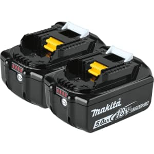 Makita 18V LXT Lithium-Ion 5.0Ah Battery 2-Pack for $219