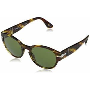 Persol PO3230S Rectangular Sunglasses, Brown & Yellow Tortoise/Green, 52 mm for $100