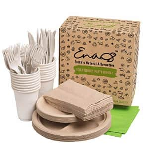 Earth's Natural Alternative Eco-friendly Camping Supplies [16 Dinnerware Set] for Picnic Basket & Party Supplies. Compostable for $16