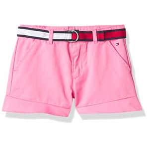 Tommy Hilfiger Girls' Solid Belted Shorts, S21 Carnation Pink Ruffle, 5 for $46