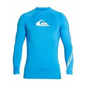Quiksilver Men's All TIME LS Long Sleeve Rashguard SURF Shirt, Blithe, X-Small for $35