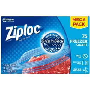 Ziploc 75-Count Quart Freezer Bags for $8.40 via Sub & Save