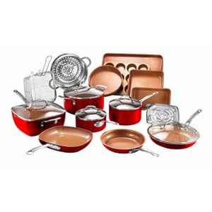 Gotham Steel Cookware + Bakeware Set with Nonstick Durable Ceramic Copper Coating Includes for $190