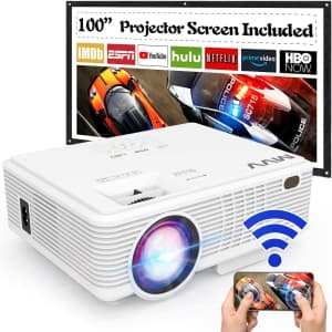 MVV WiFi Mini Portable Projector with Screen for $70