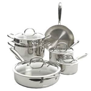 Kenmore Devon Heavy Gauge Stainless Steel Tri-Ply Impact Bonded Induction Cookware, 10-Piece Set for $139