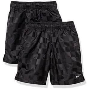 Amazon Essentials Kids Boys Active Performance Woven Soccer Shorts, 2-Pack Black/Black, Medium for $28