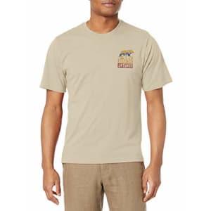 G.H. Bass & Co. Men's Short Sleeve Graphic Print T-Shirt, Bone White Heather, Medium for $14