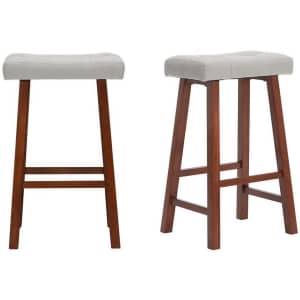 """StyleWell 30"""" Upholstered Saddle Seat Bar Stool 2-Pack for $59"""