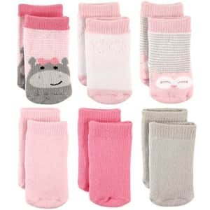 Luvable Friends Unisex Baby Newborn and Baby Socks Set, Hippo, 6-12 Months for $10