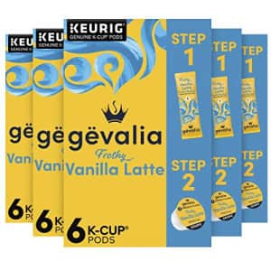 Gevalia Frothy 2-Step Vanilla Latte Espresso K-Cup Coffee Pods & Froth Packets Kit (36 Pods and for $40