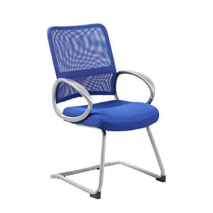 Boss Office Products Mesh Back Guest Chair with Pewter Finish in Blue for $91