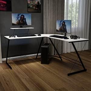 Flash Furniture Corner Desk - White/Black Space Saving L-Shaped Gaming Desk with Monitor Shelf - for $217