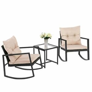 FDW Wicker Patio Furniture Sets Outdoor Bistro Set Rocking Chair 3 Piece Patio Set Rattan Chair for $186