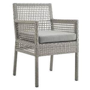 Modway Aura Wicker Rattan Outdoor Patio Dining Arm Chair with Cushion in Gray Gray for $187