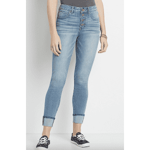 Maurices Women's Everflex High Rise Cuffed Skinny Jeans for $14