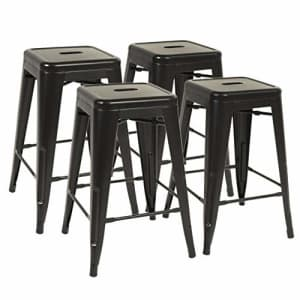 FDW Metal Bar Stools Set of 4 Counter Height Barstool Stackable Barstools 24 Inch 30 Inch Indoor for $163