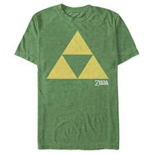 Nintendo Men's Zelda Triforce T-Shirt, Kelly Heather, Medium for $15
