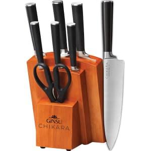 Ginsu Products Chikara Series 8-Piece Japanese Steel Knife Block Set for $70