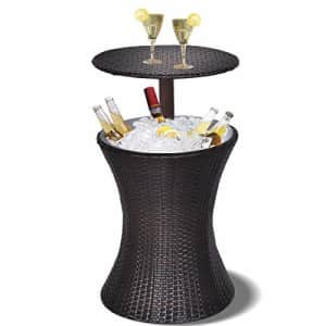 Giantex Outdoor Cool Bar Rattan Style Patio Cool Bar Table Adjustable Height Cocktail Coffee Table for $120