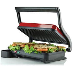 Ovente Electric Countertop Panini Press Grill with Double Nonstick Flat Cooking Plate and Portable for $33