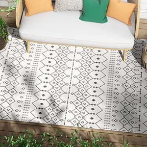 """Well Woven Nors Ivory Indoor/Outdoor Flat Weave Pile Nordic Lattice Pattern Area Rug 8x10 (7'10"""" x for $90"""