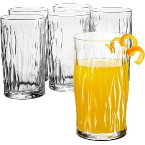 Bormioli Rocco Wind Italian 6-Piece Drinking Glasses Set for $19