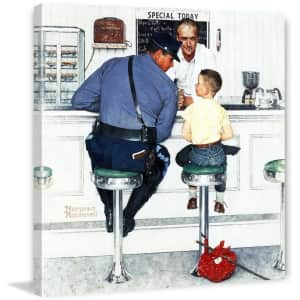 """Marmont Hill Norman Rockwell's """"Runaway"""" 40"""" x 40"""" Canvas Wall Art for $176"""