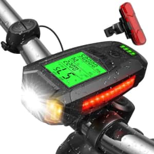 Moobibear Bike Light Set w/ Speedometer & Calorie Counter for $27