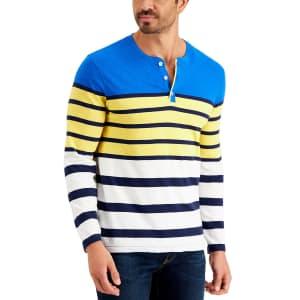 Club Room Men's Striped Henley Shirt for $24